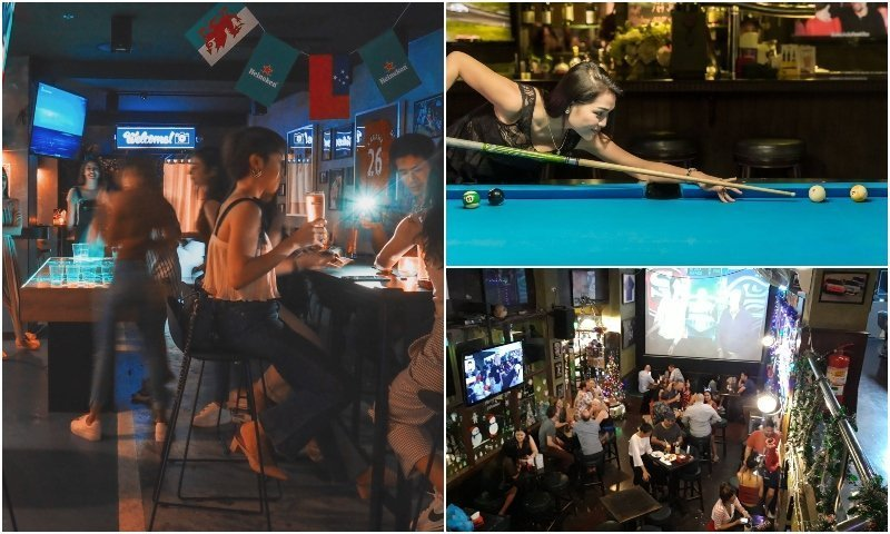 Inside sports bars in Sukhumvit soi 11 Bangkok