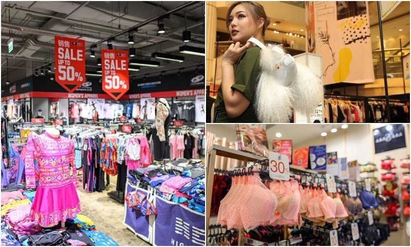 Shops and Thai girl with a bag at Amarin Plaza shopping mall in Bangkok