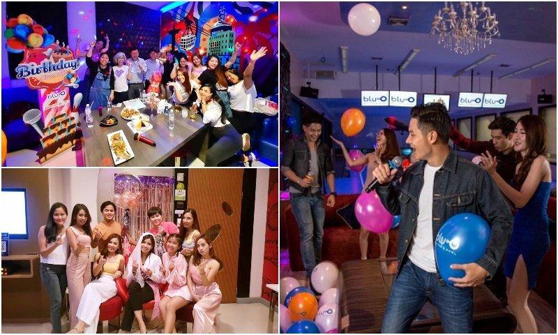 Rooms and people partying at Blu O Karaoke in Bangkok