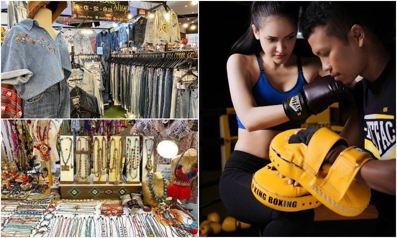 Shops and Thai girl doing Muay Thai at Gateway Ekamai mall in Bangkok