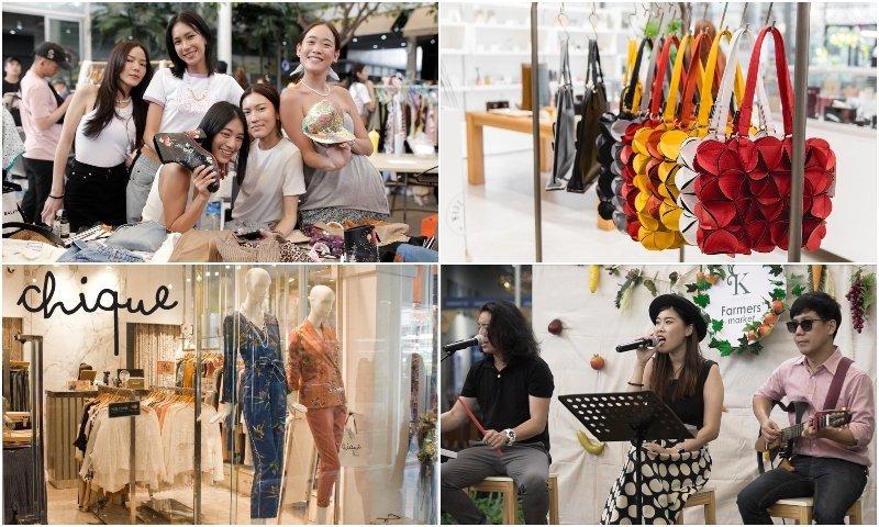 Shops Thai girls and live band at K Village shopping center in Sukhumvit soi 26 Bangkok