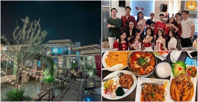 Food and group partying at Karaoke city in Bangkok