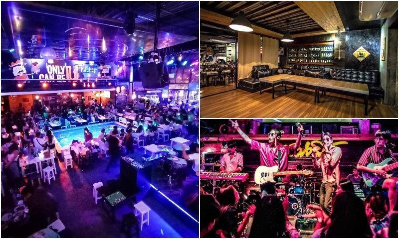 Main room live band and private karaoke room at Loft to Bar in Bangkok