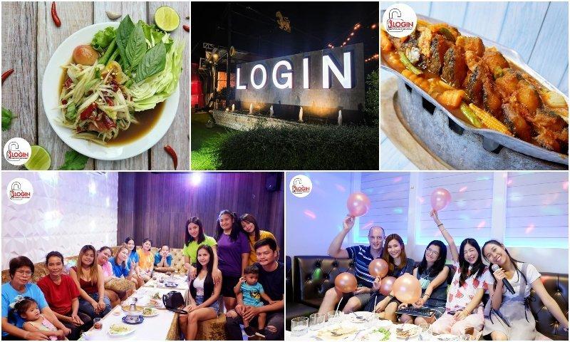 food and people partying in karaoke rooms at Login Karaoke & Restaurant in Bangkok