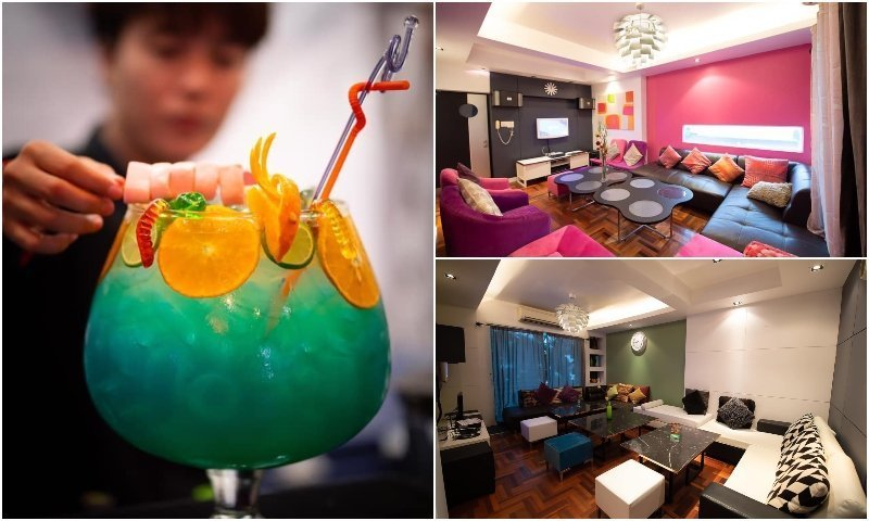 Cocktail and karaoke rooms at Memory 4x4 karaoke bar in Bangkok
