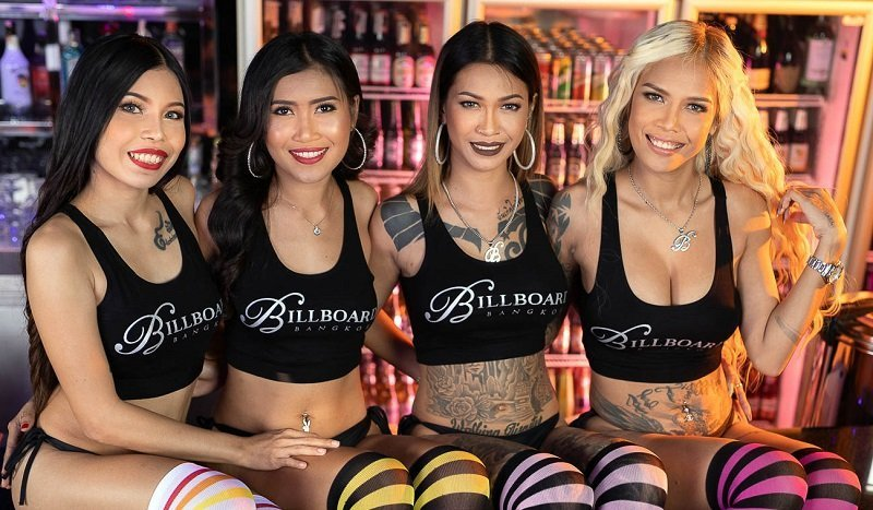 Hot inked Thai girls working at Billboard gogo bar in Nana Plaza Bangkok