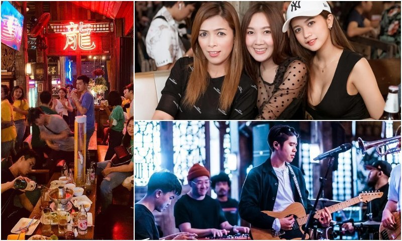 Thai girls and live music at Old Leng Bar in Bangkok