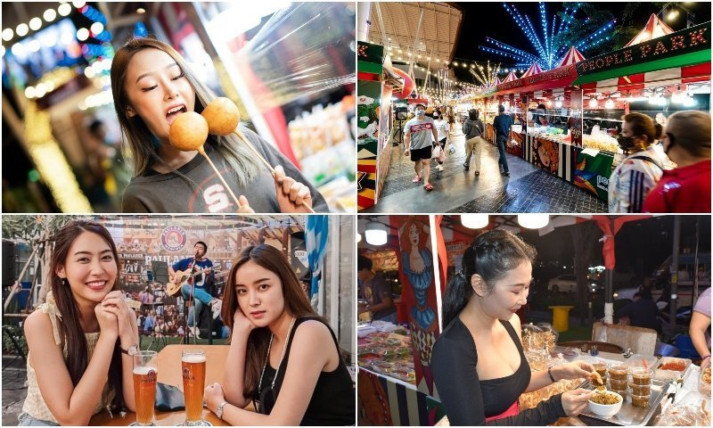 Thai girls and shops at the People Park Community Mall in Bangkok