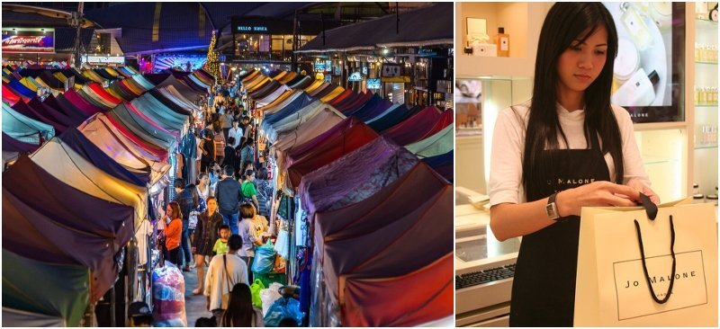 shopping mall and night market in Thailand