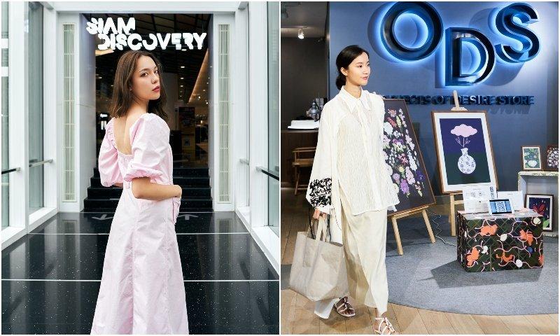 Thai girls posing at Siam Discovery shopping mall in Bangkok