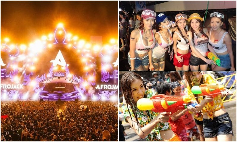 Festival and water fights during Songkran in Bangkok
