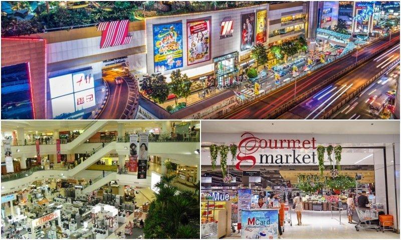 Shops and exterior of The Mall shopping center in Bang Kapi Bangkok