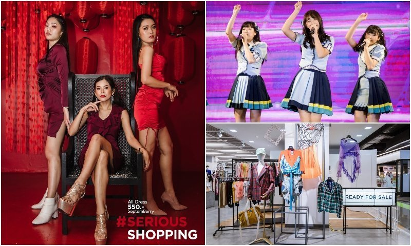 Thai girls posing and singing at Union Mall shopping center in Chatuchak Bangkok