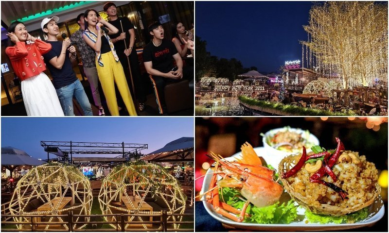 Food people singing and exterior at Waterside Karaoke Restaurant in Bangkok