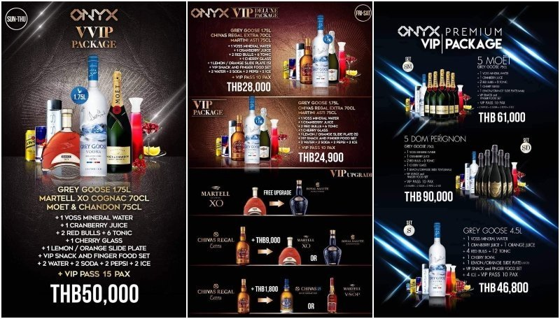 VIP packages at Onyx Bangkok in RCA