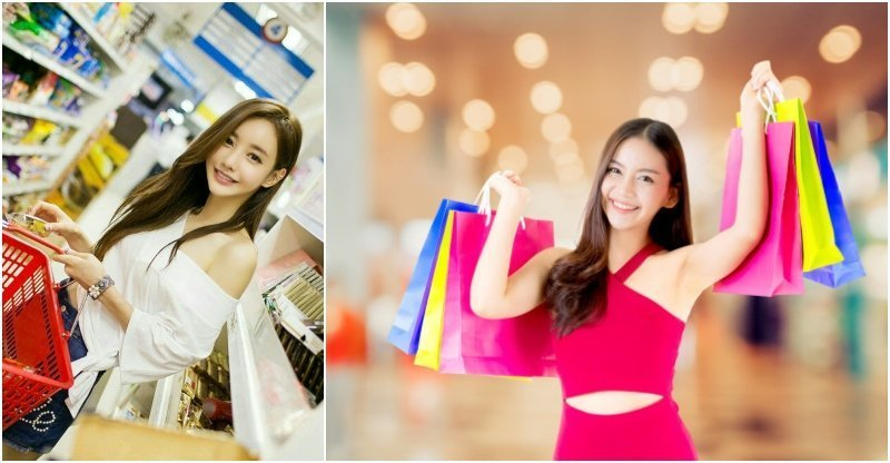 sexy Thai girls shopping in supermarket and mall