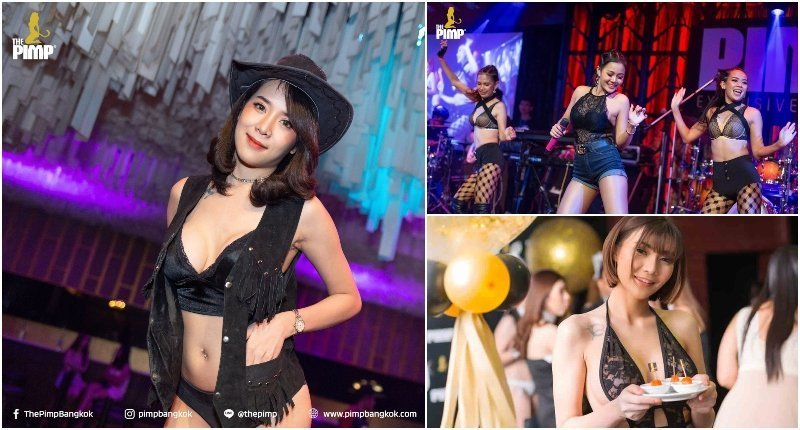 Beautiful Thai girls on stage and eating at the PIMP G Club in Bangkok