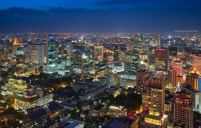 Silom at night view from the sky