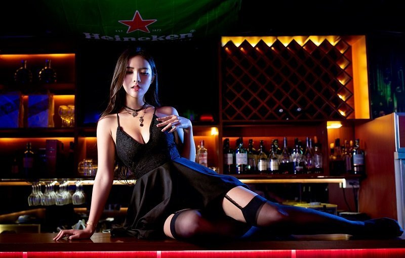 Sexy Thai girl in lingerie at a bar in Thailand