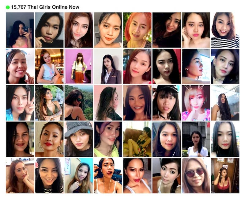 Thai girls connected on a Thai dating app