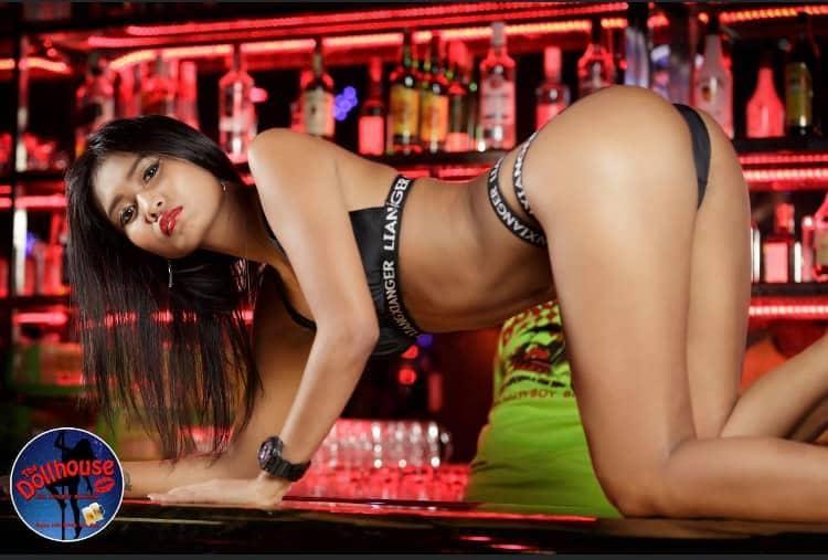 Hot girl on the bar