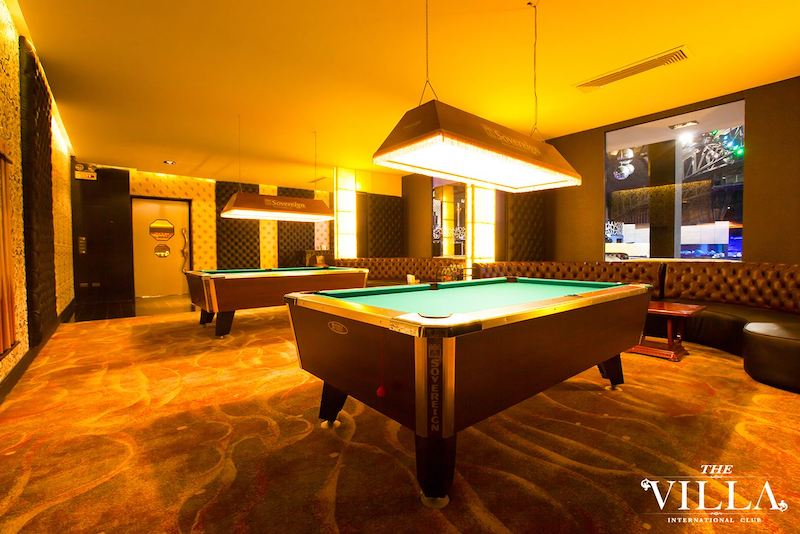 interior of a large private party room at the Villa International Club in Bangkok