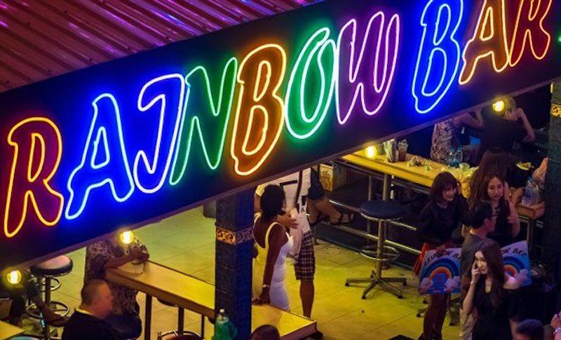 neon sign of Rainbow gogo bar in Nana Plaza Bangkok