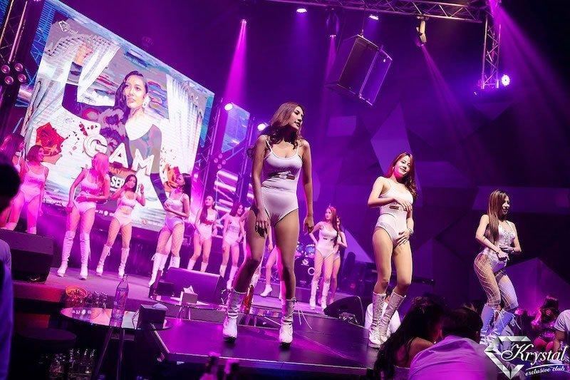 Thai girls dancing on stage at Krystal Exclusive Club in Bangkok